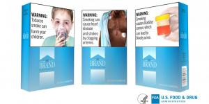 Packs fo cigarettes with proposed graphic labels showing sick children, a heart surgery scar, and bloody urine.